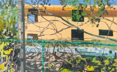 (detail) Julian Kreimer, Turquoise Fence, 2015, oil on canvas, 66 x 68 inches (c