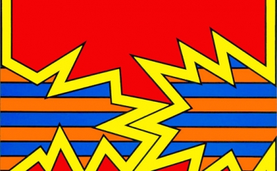 (detail) Nicholas Krushenick, Electric Soup, 1969, acrylic on canvas, 90 1/8 x 7