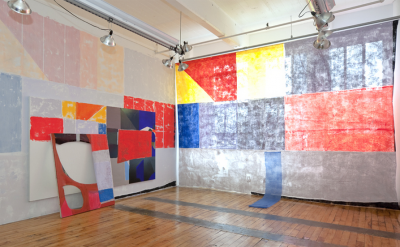 Anna Kunz, Installation view version 2, 2011 painted scrim, wall painting and pa