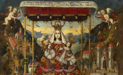 (detail) Our Lady of Cocharcas Under the Baldachin, Peru, 18th century, oil on c