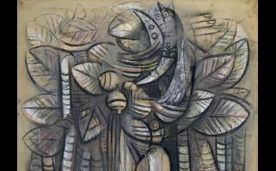 (detail) Wifredo Lam, Lumière de la forêt, 1942, gouache on paper on canvas (Geo