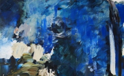 (detail) Annie Lapin, Air Pour Scape, 2013, oil on canvas, 57 by 44 inches (coll