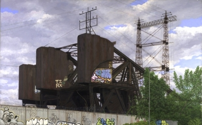 Valeri Larko, Bronx Drawbridge Oil on Linen 40 x 52 inches (courtesy  J. Cacciol
