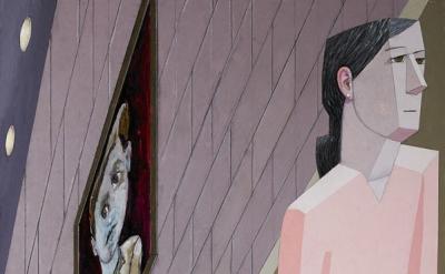 (detail) Mernet Larsen, Alphie, 2015, acrylic and mixed media on canvas, 71 1/8