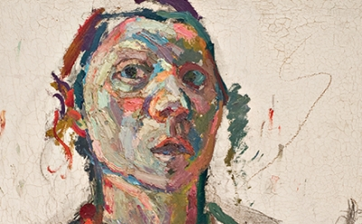 (detail) Maria Lassnig, Selbstporträt expressiv, 1945, oil on canvas (courtesy o