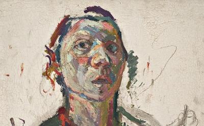 (detail) Maria Lassnig, Selbstporträt expressiv, 1945, oil on canvas (courtesy t