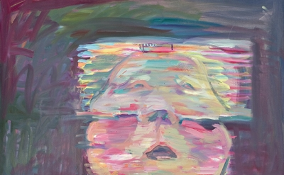 (detail) Maria Lassnig, Transparentes Selbstporträt, 1987, oil on canvas (courte
