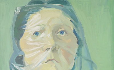 (detail) Maria Lassnig, Selbstporträt unter Plastik, 1972, oil on canvas (collec