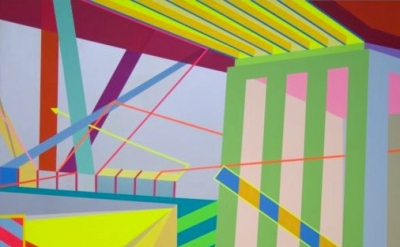 (detail) Jonathan Leach, Minutes Away, 2009, acrylic on canvas, 70 x 80 inches (