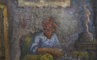 (detail) John Lees, Man Sitting in an  Armchair, 2008-2015, oil on canvas, 42 x