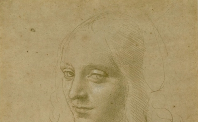 (detail) Leonardo da Vinci, Head of a Young Woman (courtesy of the Morgan Librar