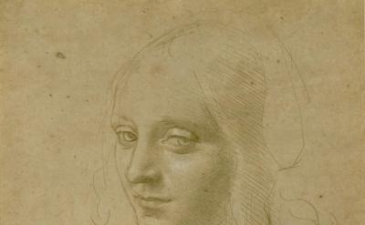 (detail) Leonardo da Vinci, Head of a Young Woman (courtesy of the Morgan Librar