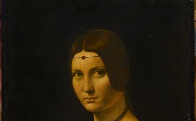 (detail) Leonardo da Vinci, Portrait of a Woman ('La Belle Ferronnière'), c. 149