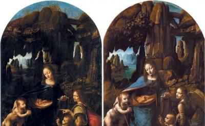 Leonardo da Vinci, Virgin of the Rocks, Two versions (left) 1483–1490, collectio