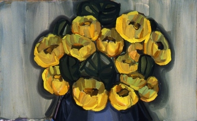 Judith Linhares, Chinese Flowers, 26 x 22 inches, oil on linen, 2009 (courtesy E