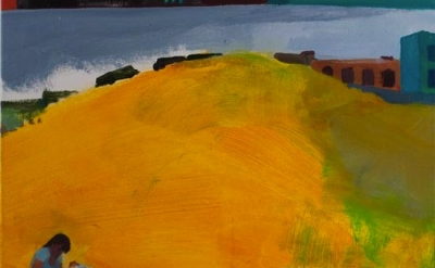 (detail) Rebecca Litt, One Side of Yellow Hill, 2012, 18 x 20 inches, oil on can
