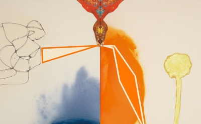 David Lloyd, All Possible Worlds, 2014, mixed media on canvas, 48 by 69 inches (