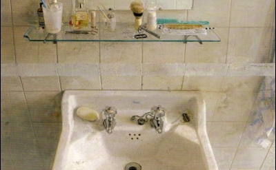 (detail) Antonio López García, Sink and Mirror, 1967, oil on wood (Museum of Fin