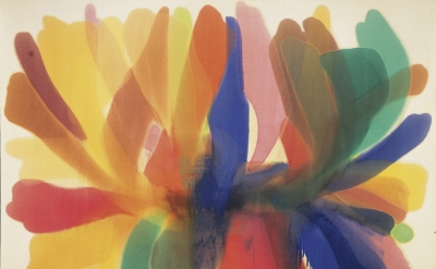 Morris Louis, Point of Tranquility, 1960, acrylic (Magma) on raw cotton duck canvas, 102 x 136 inches (Hirshhorn Museum and Sculpture Garden)