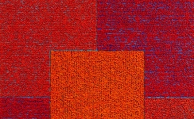 (detail) Louise P. Sloane, Red Red Orange Square, 2010, 50 x 46 inches, acrylic,