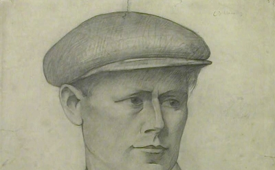 (detail) LS Lowry, Head of a Young Man in a Cap (The LS Lowry Collection, Manche