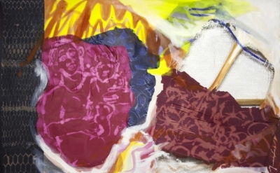 Lauren Luloff, Katherine and Kalifa, oil, bleached bedsheets and fabric on musli