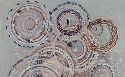 (detail) Tine Lundsfryd, Circles, beetles and hearts, 2010–13, oil, pencil and c