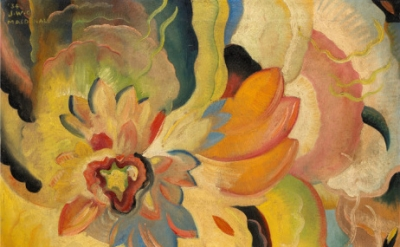 (detail) Jock Macdonald, Formative Colour Activity, 1934, oil on canvas, 77 x 66