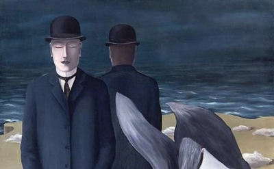 (detail) Rene Magritte, The Meaning of Night, 1927, oil on canvas, 54 3/4 x 41 5