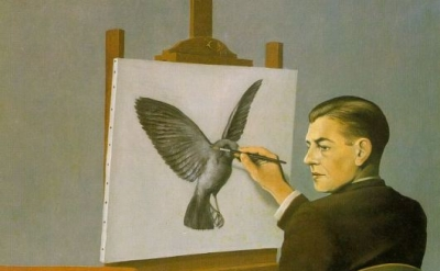 René Magritte, Clairvoyance, 1946, oil on canvas, 54.5 x 65.5 cm (Museum of Mode