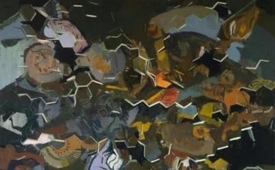 (detail) Sangram Majumdar, fall into, 42 x 46 inches, oil on linen, 2011 (Courte