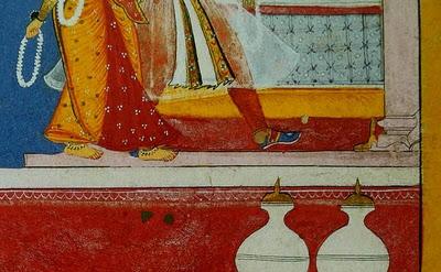 (detail) Sahibdin, Malavini Ragini: folio from a Ragamala series, 1628; opaque w