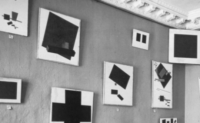 (detail) Installation view: Kazimir Malevich's paintings at 'The Last Futurist E