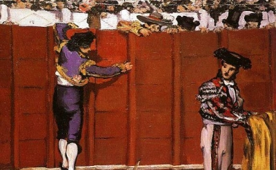 (detail) Édouard Manet, Incident at a Bullfight, 1864, oil on canvas, 18 7/8 x 4