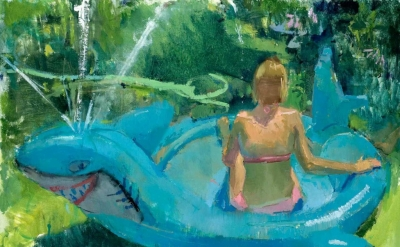 Eve Mansdorf, Shark Pool, 32 x 24 inches, oil on muslin on panel (courtesy of th