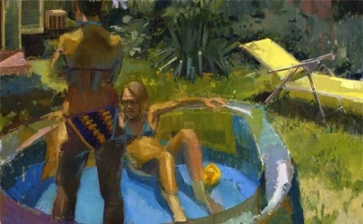 (detail) Eve Mansdorf, Kiddy Pool, oil on muslin on board, 40 x 48 inches (court