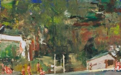 (detail) Marius Bercea, Untitled (swimming pool), 2011, Oil on canvas, 19.69 x 1