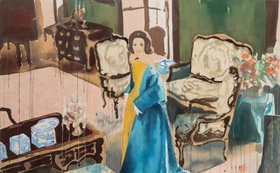 Liz Markus, Lee Radziwill in Nina Ricci, 2014, oil on unprimed canvas, 54 x 72 i
