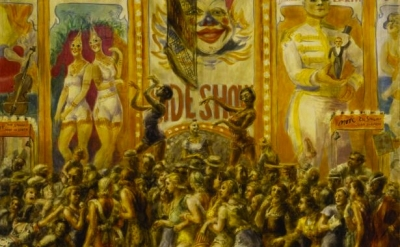 (detail) Reginald Marsh, Pip and Flip, 1932, Egg tempera on paper mounted on can