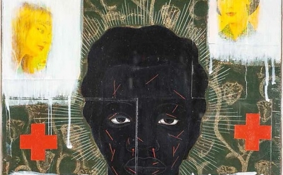 (detail) Kerry James Marshall, Stigma Stigmata, 1992, acrylic and collage on panel, 20 × 19 inches (Collection of Eric and Cheryl McKissack)
