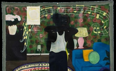 Kerry James Marshall, Slow Dance, 1992-1993, acrylic and collage on canvas, 75 1/4 × 74 1/4 inches (The David and Alfred Smart Museum of Art, University of Chicago Purchase, Smart Family Foundation Fund for Contemporary Art, and Paul and Miriam Kirkley Fund for Acquisitions)