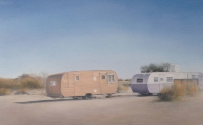 (detail) Deborah Martin, Slab City Trailers, 2014, oil on canvas, 48 x 48 inches