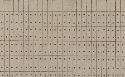 (detail) Agnes Martin, Little Sister, 1962, oil, ink, and brass, nails on canvas and wood sheet, 25.1 x 24.2 cm (Solomon R. Guggenheim Museum, New York, Gift, Andrew Powie Fuller and Geraldine Spreckels Fuller Collection 2000.40. © 2016 Agnes Martin/Artists Rights