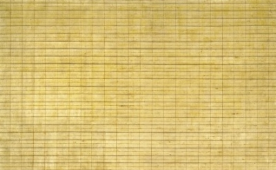(detail) Agnes Martin, Friendship, 1963, incised gold leaf and gesso on canvas (