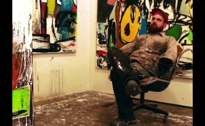 Eddie Martinez in his studio, Greenpoint, Brooklyn, 2012. Production still from
