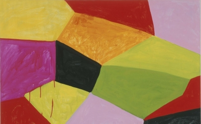 (detail) Mary Heilmann, Primalon Ballroom, 2002, Oil on canvas and wood, 50 x 40