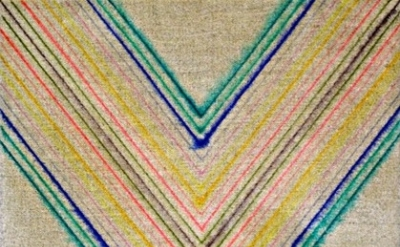 (detail) Jeffrey Scott Mathews, Untitled (/x\), 2010, marker on linen, 11 x 14 i