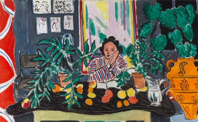 (detail) Henri Matisse, Interior with an Etruscan Vase, 1940, oil on canvas  (© 2017 Succession H. Matisse and Artists Rights Society (ARS), New York/courtesy of the Cleveland Museum of Art and Museum of Fine Arts, Boston/The Cleveland Museum of Art, Cleveland, gift of the Hanna Fund)