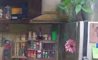 (detail) Matt Klos, Watched Pot, 32 x 24 inches, Oil on Panel