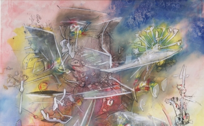 (detail) Roberto Matta, Untitled, c. 1983), oil on canvas, 74 x 80 inches (court